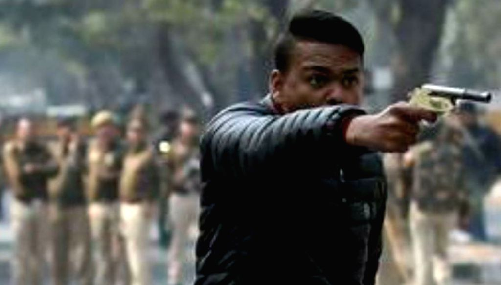 New Delhi: The youth who opened fire in Anti-CAA march conducted by Jamia Coordination Committee, injuring a student of Jamia Millia Islamia (JMI) University, in New Delhi on Jan 30, 2020. The attacker was apprehended by the police and the victim was