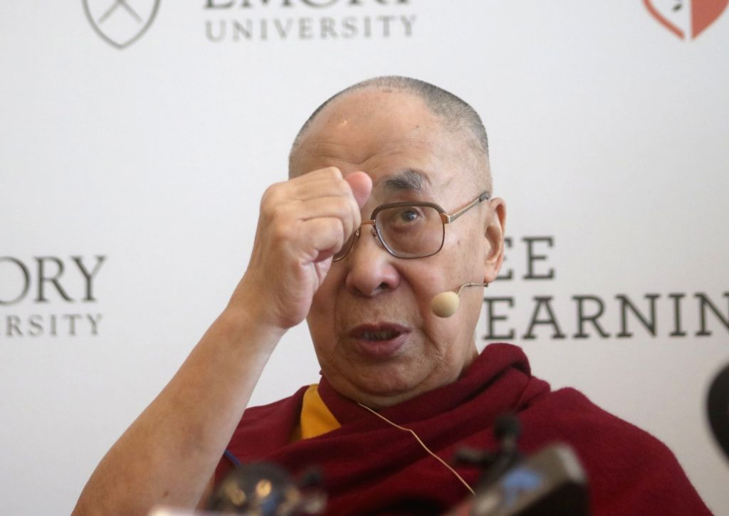 New Delhi: Tibetan spiritual leader the Dalai Lama addresses a press conference at the launch of 'SEE' (Social, Emotional and Ethical Learning) programme at Emory University in New Delhi, on April 4, 2019. (Photo: IANS)