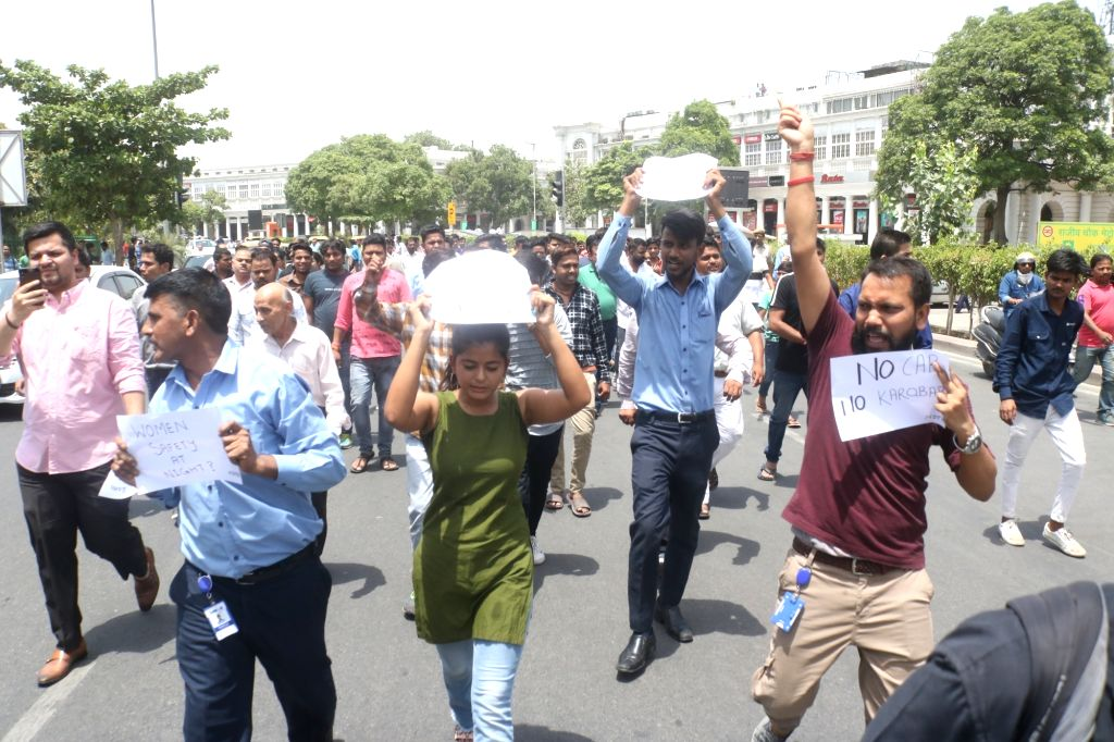 New Delhi: Traders stage a demonstration against NDMC for restricting vehicular movement in the inner circle of Connaught Place in New Delhi on June 29, 2019. (Photo: Bidesh Manna/IANS)