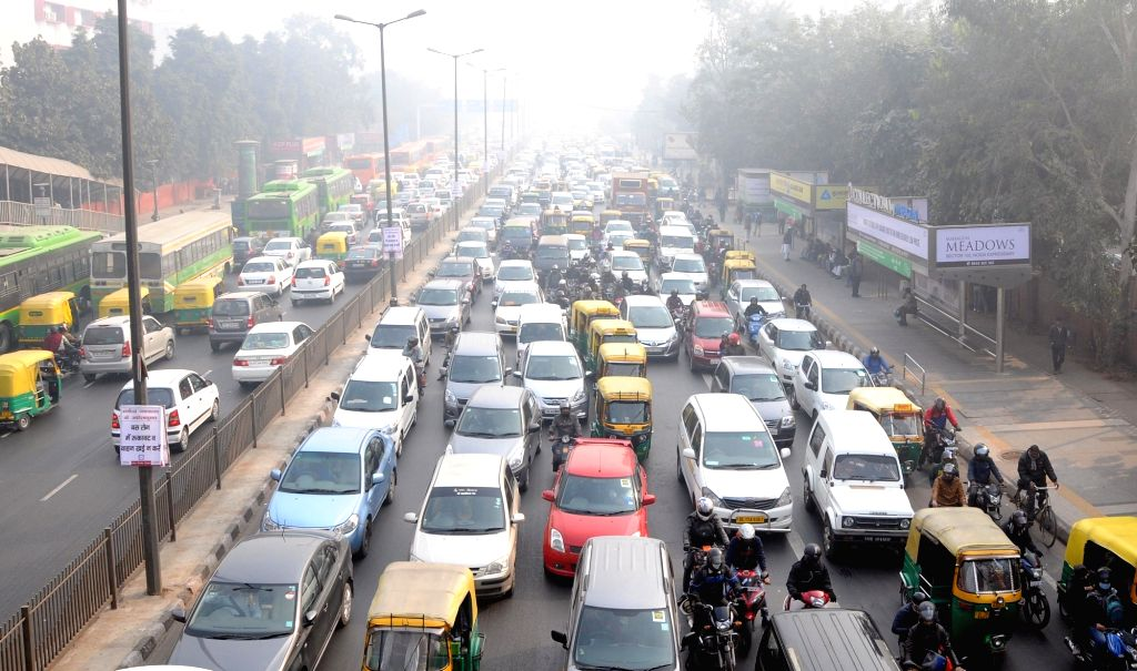 New Delhi: Traffic jam on Delhi roads on the Day-4 of implementation of the state government's odd even formula in the national capital, on Jan 4, 2016. (Photo: IANS)