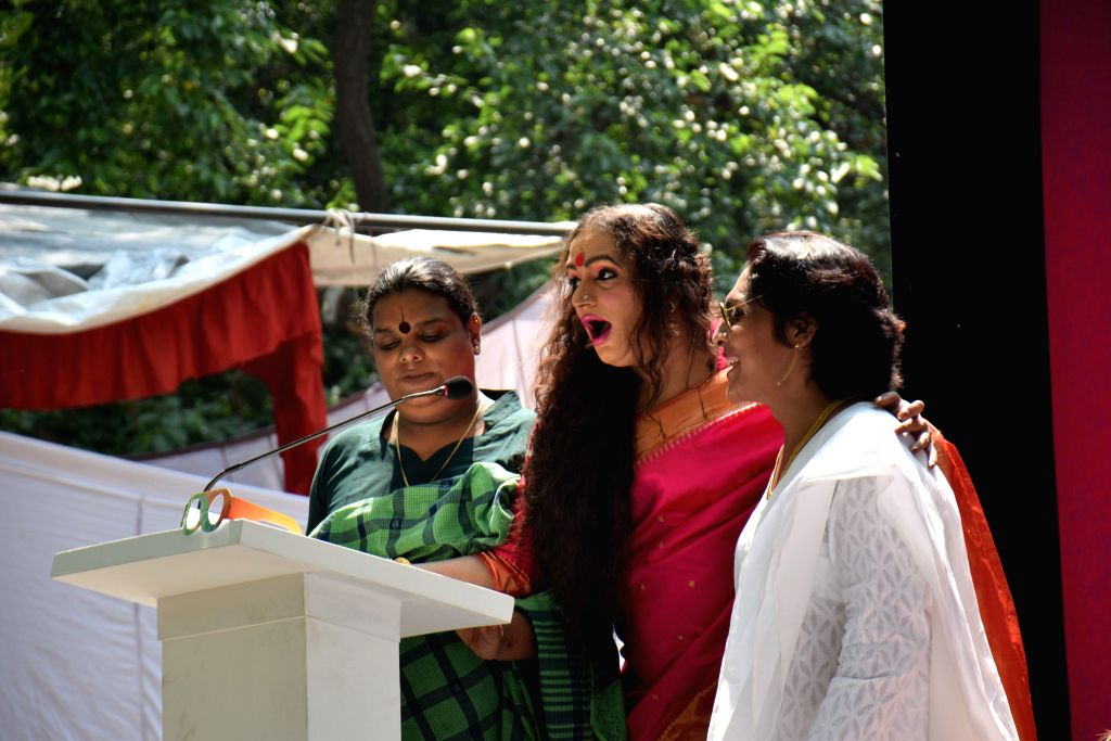 Transgenders celebrating the first anniversary of the Supreme Court's judgement of Third Gender right in New Delhi on April 15, 2015.