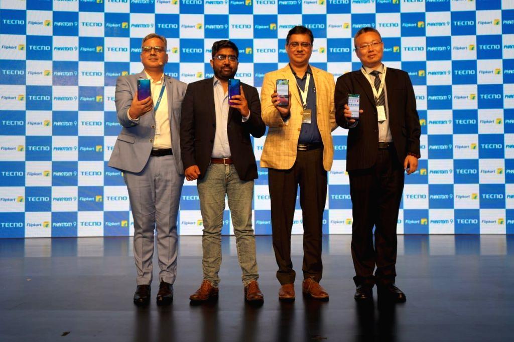 New Delhi: Transsion India Chief Operating Officer Marco Ma, CEO Arijeet Talapatra, Flipkart Senior Director (Mobiles) Aditya Soni and Transsion India Senior Vice President (Marketing) Gaurav Tikoo at the launch of Tecno Phantom 9 smartphones, in New