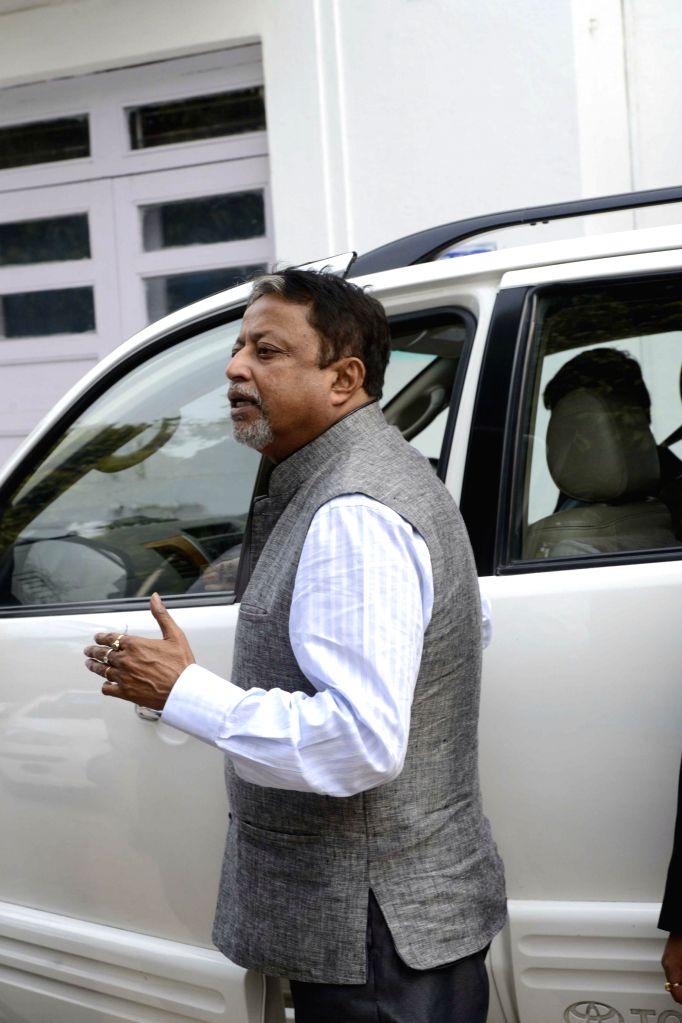 Trinamool Congress' All India General Secretary and Rajya Sabha member,Mukul Roy outside his residence at South Avenue in New Delhi on Feb 19, 2015.