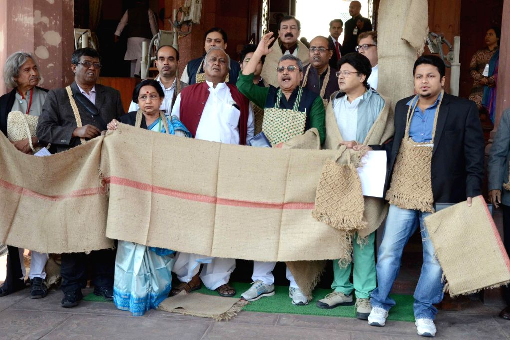 Trinamool Congress MPs stage a demonstration to press for bringing back the black money stashed abroad, at the Parliament house in New Delhi on Dec 8, 2014. (Photo: Amlan Paliwal/IANS