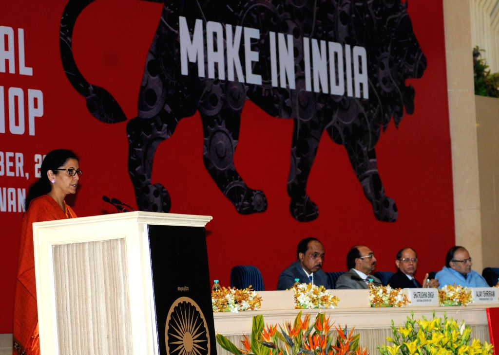 """TThe Union Minister of State for Commerce and Industry (Independent Charge), Nirmala Sitharaman addresses at the National Workshop on """"Make in India"""", in New Delhi on Dec 29, 2014."""