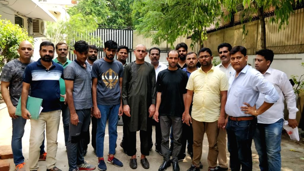 """New Delhi: Two persons, Sube Singh and Deepak were arrested by Delhi Police crime branch and 17 bags containing 510 kg """"marijuana"""" was recovered from their possession, in New Delhi on July 19, 2019. (Photo: IANS) - Sube Singh"""