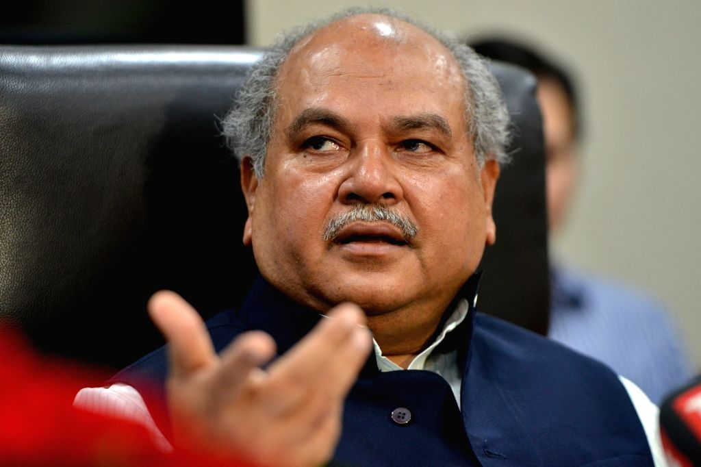 New Delhi: Union Agriculture and Farmers Welfare and Rural Development Minister Narendra Singh Tomar addresses a press conference in New Delhi on Aug 9, 2019. (Photo: IANS) - Narendra Singh Tomar
