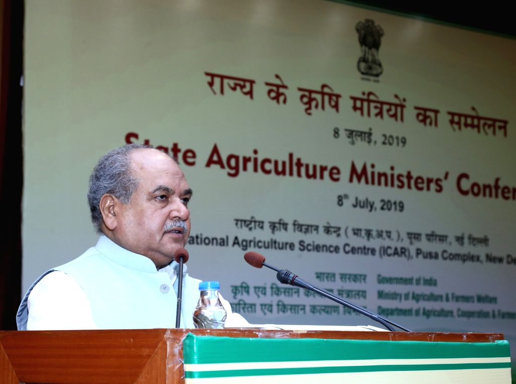 New Delhi: Union Agriculture and Farmers Welfare, Rural Development and Panchayati Raj Minister Narendra Singh Tomar addresses at the inauguration of the State Agriculture Ministers' Conference, in New Delhi on July 8, 2019. (Photo: IANS/P - Narendra Singh Tomar