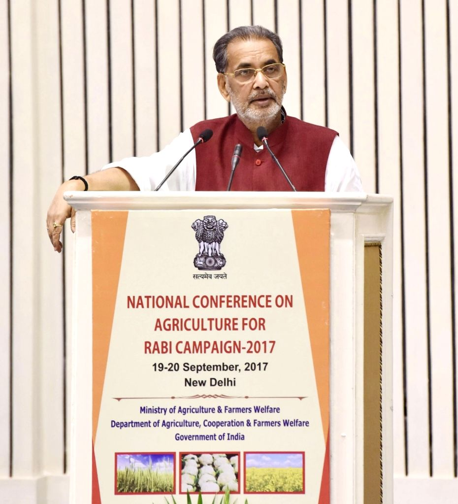 """New Delhi: Union Agriculture Minister Radha Mohan Singh addresses at the inauguration of """"National Conference on Agriculture for Rabi Campaign - 2017"""", in New Delhi on Sept 19, 2017. - Radha Mohan Singh"""