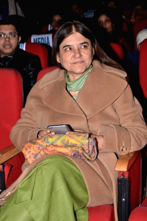 Union Cabinet Minister for Women and Child Development, Maneka Gandhi during a fundraiser musical concert for animal welfare organised by an NGO at Siri Fort Auditorium in New Delhi,