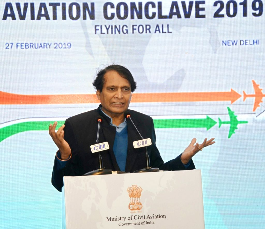 New Delhi: Union Commerce and Industry and Civil Aviation Minister Suresh Prabhu addresses at the Aviation Conclave 2019, in New Delhi, on Feb 27, 2019. (Photo: IANS/PIB) - Suresh Prabhu