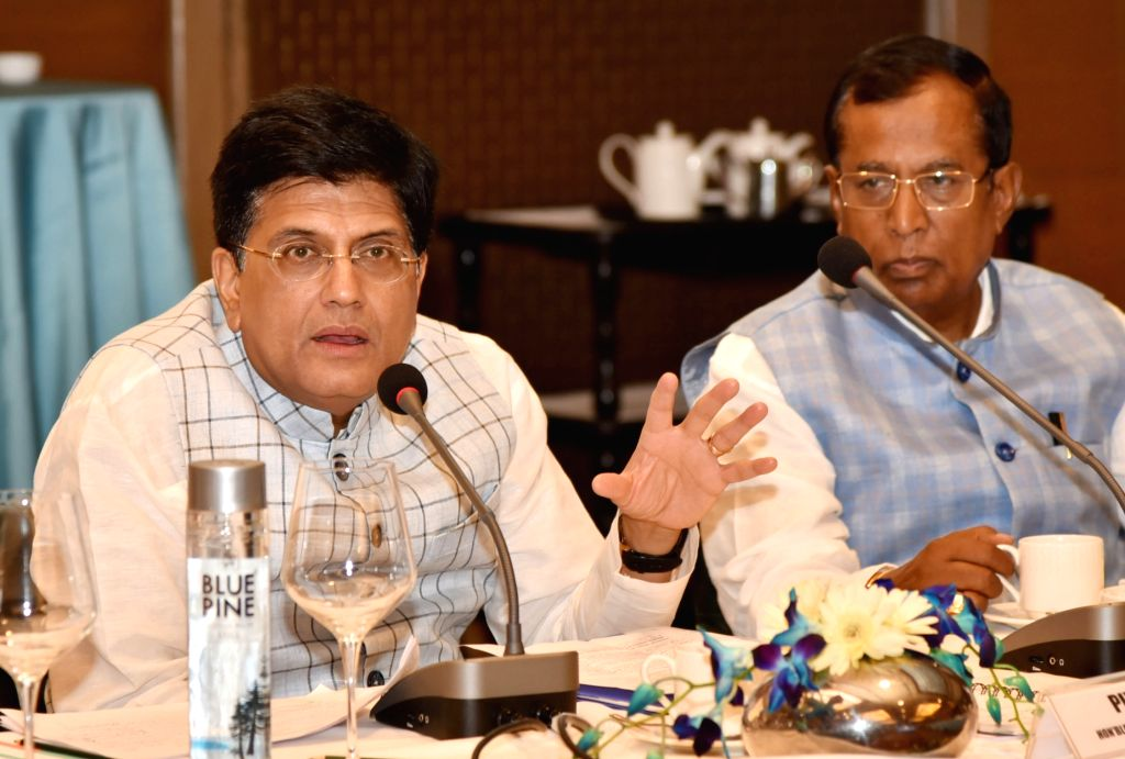 New Delhi: Union Commerce and Industry Minister Piyush Goyal chairs a meeting to discuss issues related to export credit, in New Delhi on June 7, 2019. Also seen Union MoS Commerce and Industry Som Parkash. (Photo: IANS/PIB) - Piyush Goyal