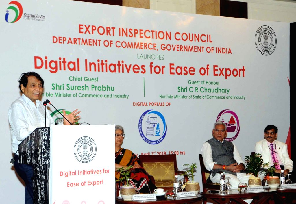 :New Delhi: Union Commerce and Industry Minister Suresh Prabhakar Prabhu addresses at the launch of digital initiatives by Export Inspection Council (EIC) for use by exporters and stakeholders, in ...