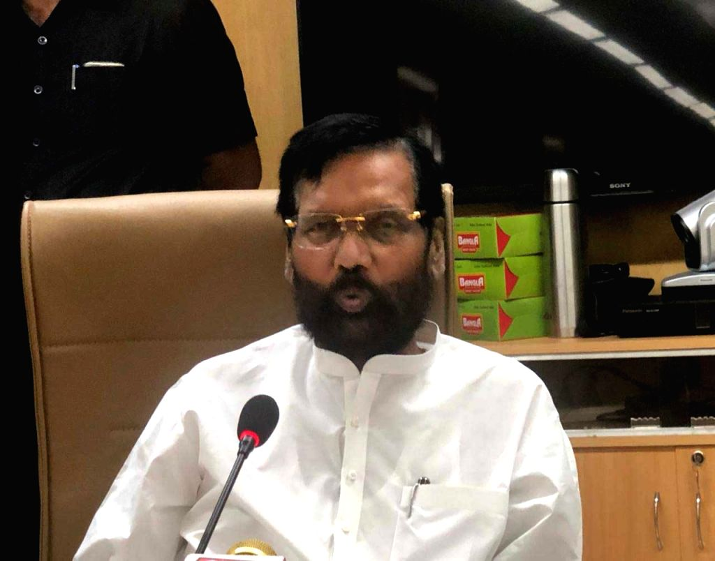 New Delhi: Union Consumer Affairs Minister Ram Vilas Paswan addresses a press conference in New Delhi on Oct 3, 2019. (Photo: IANS) - Ram Vilas Paswan