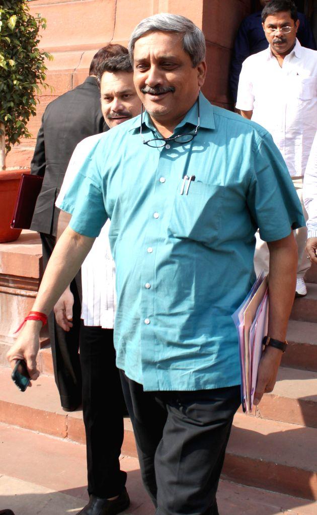 Union Defence Minister Manohar Parikkar at the Parliament premises in New Delhi, on Nov 26, 2014. - Manohar Parikkar