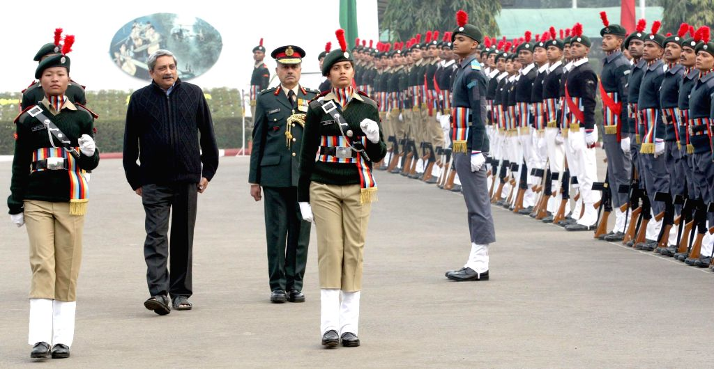 Union Defence Minister Manohar Parrikar inspects Guard of Honour, at the NCC Republic Day Camp – 2015, in New Delhi on Jan 21, 2015. Also seen NCC DG Lt. Gen. Aniruddha Chakravarty. - Manohar Parrikar