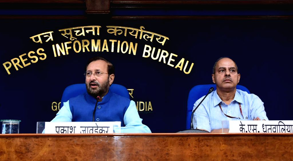 New Delhi: Union Environment, Forest and Climate Change and Information and Broadcasting Minister Prakash Javadekar briefs the media on Cabinet decisions, in New Delhi on Oct 9, 2019. (Photo: IANS/PIB) - Prakash Javadekar