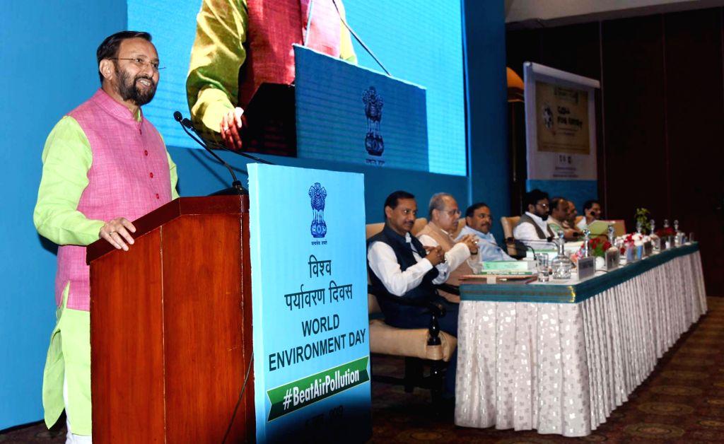 New Delhi: Union Environment, Forest and Climate Change Minister Prakash Javadekar addresses at the inauguration of World Environment Day celebrations, in New Delhi on June 6, 2019. (Photo: IANS/PIB) - Prakash Javadekar