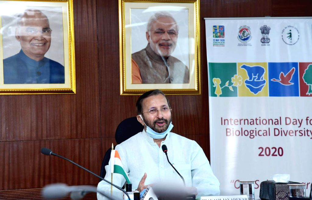 New Delhi: Union Environment, Forest & Climate Change, Information & Broadcasting and Heavy Industries and Public Enterprise Minister Prakash Javadekar addresses at the virtual celebration of the International Day for Biological Diversity 2020, in as - Prakash Javadekar