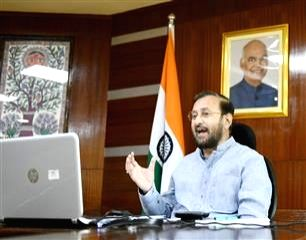 "New Delhi: Union Environment, Forest & Climate Change, Information & Broadcasting and Heavy Industries and Public Enterprise Minister Prakash Javadekar addresses a webinar on ""National Education Policy"" organised by Vidyapeeth Vikas Manch, NYCS & Sav - Prakash Javadekar"