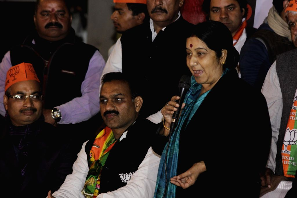 Union External Affairs Minister Sushma Swaraj during an election campaign rally in New Delhi on Jan. 28, 2015.