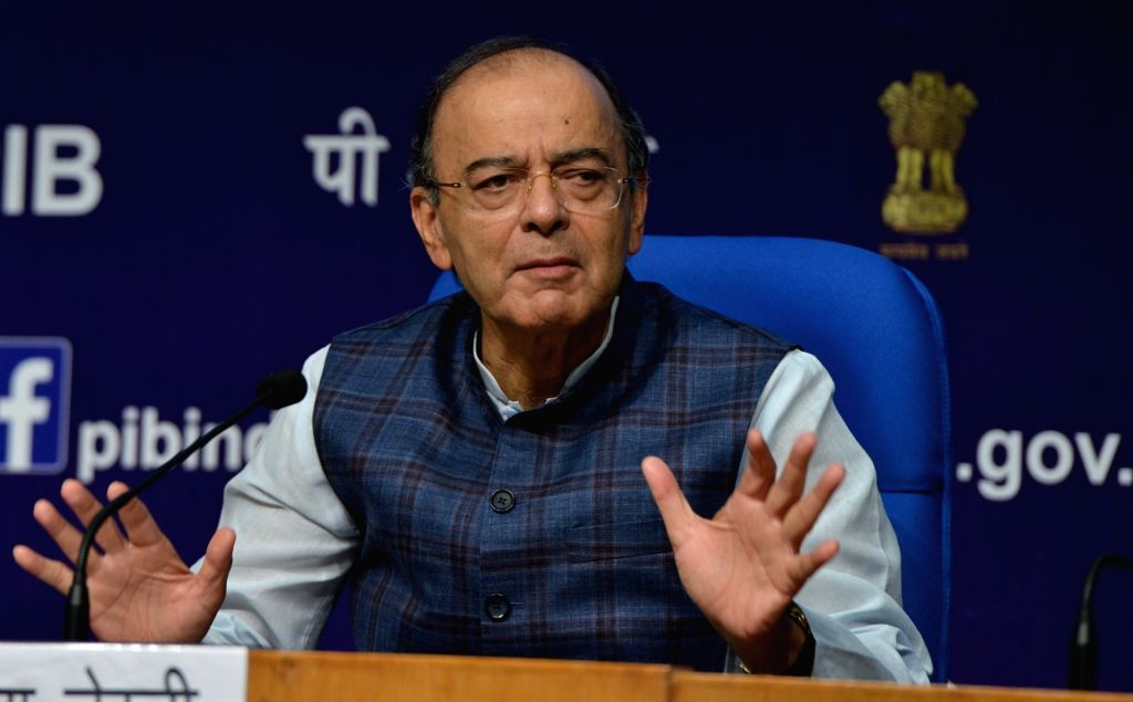 : New Delhi: Union Finance and Corporate Affairs Minister Arun Jaitley addresses during a press conference after a cabinet briefing in New Delhi, on Oct 24, 2018. Government on Wednesday rejected as ...