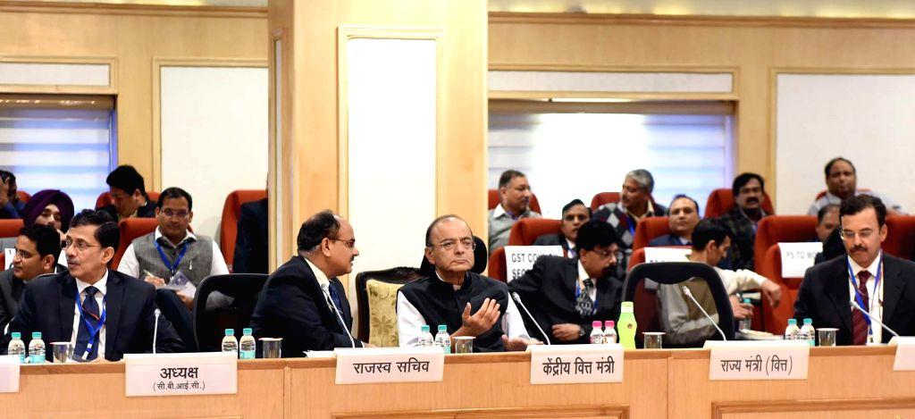New Delhi: Union Finance and Corporate Affairs Minister Arun Jaitley chairs the 33rd GST Council meeting, in New Delhi, on Feb 24, 2019. (Photo: IANS/PIB) - Arun Jaitley