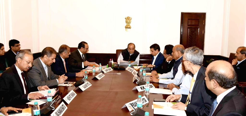 New Delhi: Union Finance and Corporate Affairs Minister Arun Jaitley chairs an interactive session with the office bearers of FICCI and it's industry members, in New Delhi, on March 5, 2019. (Photo: IANS/PIB) - Arun Jaitley