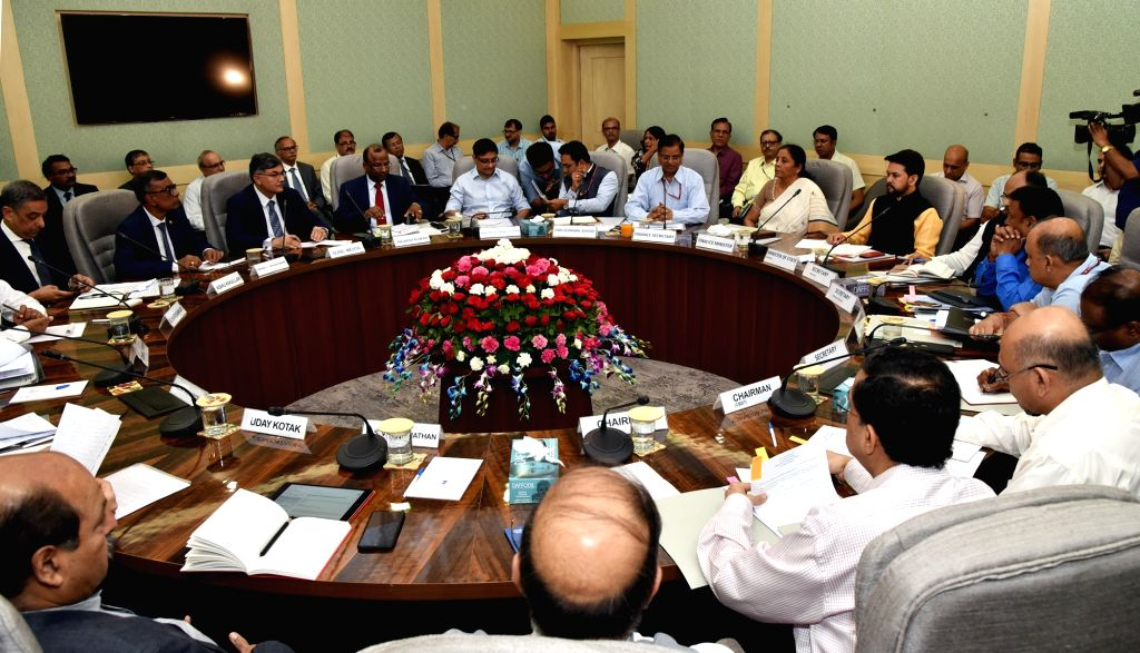 New Delhi: Union Finance and Corporate Affairs Minister Nirmala Sitharaman chairs the Pre-Budget consultation with representatives from Financial Sector and Capital Markets, in New Delhi on June 13, 2019. Also seen Minister of State for Finance and C - Nirmala Sitharaman