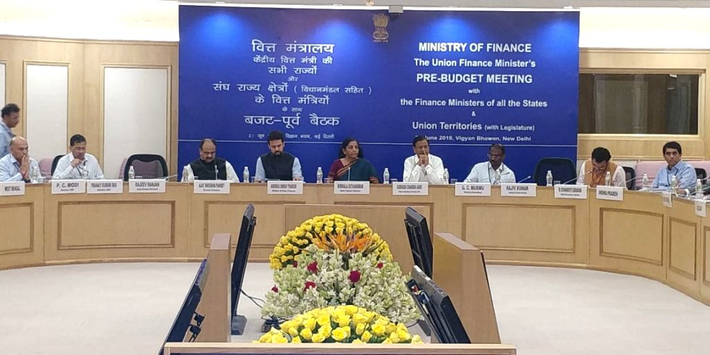 New Delhi: Union Finance and Corporate Affairs Minister Nirmala Sitharaman accompanied by Union MoS Finance and Corporate Affairs Anurag Singh Thakur and Economic Affairs and Finance Secretary Subhash Chandra Garg, chairs the Pre-Budget consultations - Nirmala Sitharaman