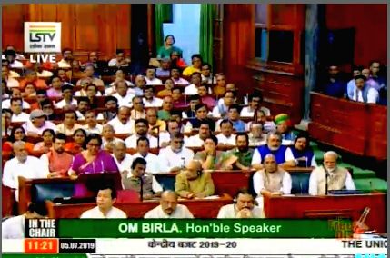New Delhi: Union Finance and Corporate Affairs Minister Nirmala Sitharaman presents the Union Budget 2019 in the Lok Sabha, on July 5, 2019. (Photo: IANS/LSTV) - Nirmala Sitharaman