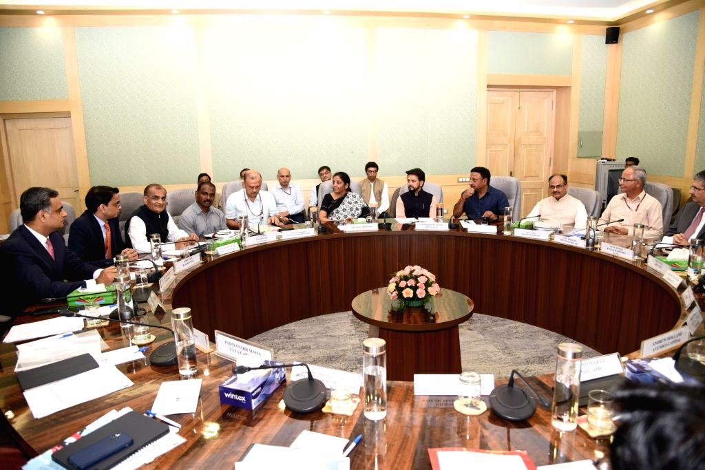 New Delhi: Union Finance and Corporate Affairs Minister Nirmala Sitharaman accompanied by Union MoS Finance and Corporate Affairs Anurag Thakur, chairs a meeting with Foreign Portfolio Investors (FPIs) in New Delhi, on Aug 9, 2019. (Photo: IANS/MoF) - Nirmala Sitharaman