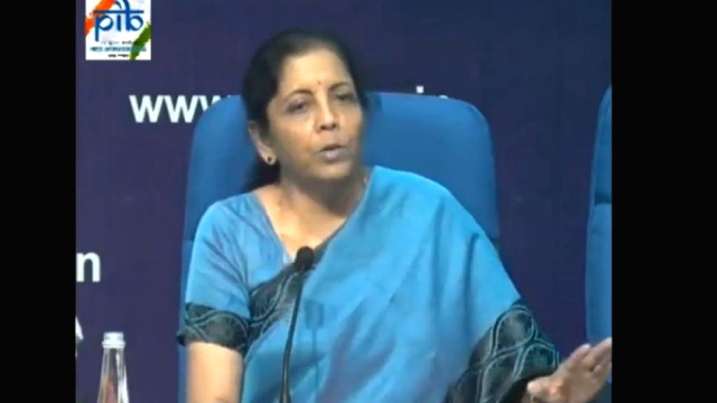 New Delhi: Union Finance and Corporate Affairs Minister Nirmala Sitharaman addresses a press conference at National Media Centre in New Delhi, on Sep 14, 2019. (Photo: IANS/PIB) - Nirmala Sitharaman