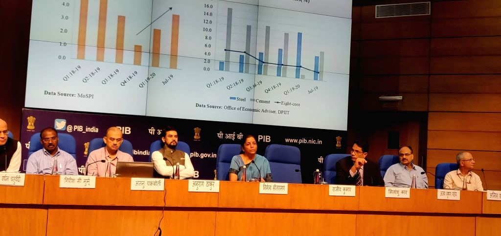 New Delhi: Union Finance and Corporate Affairs Minister Nirmala Sitharaman addresses a press conference at National Media Centre in New Delhi, on Sep 14, 2019. (Photo: IANS) - Nirmala Sitharaman
