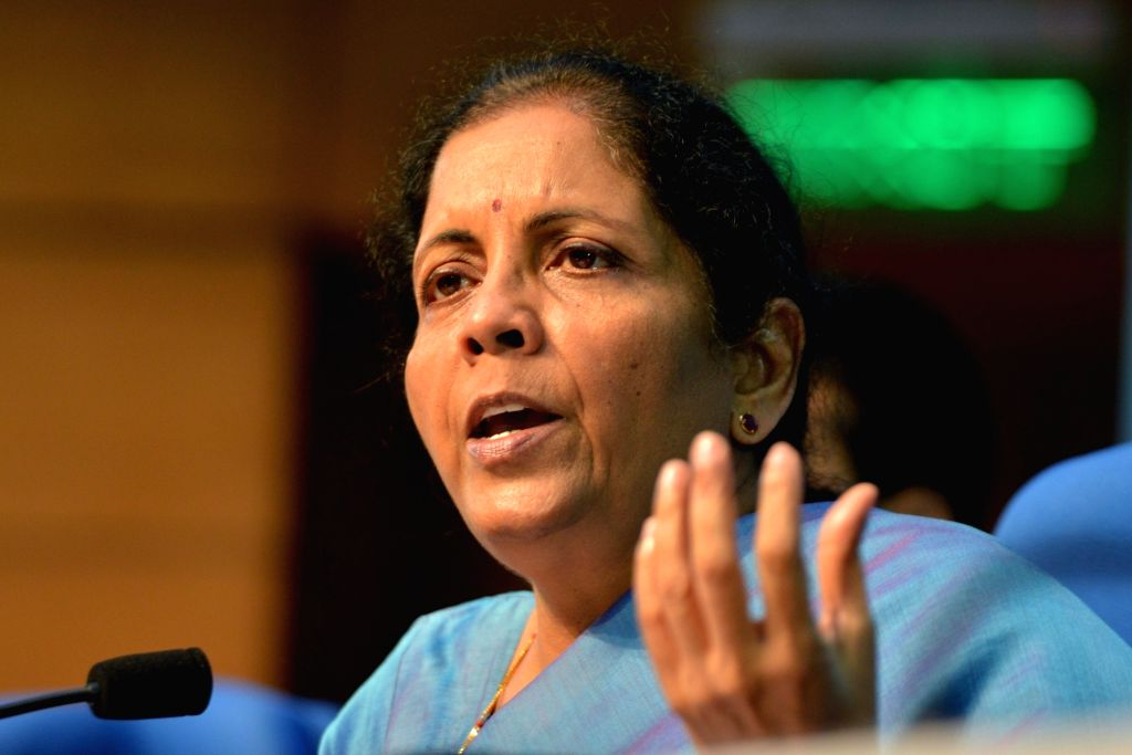 New Delhi: Union Finance and Corporate Affairs Minister Nirmala Sitharaman addresses a press conference in New Delhi on Sep 14, 2019. (Photo: IANS) - Nirmala Sitharaman