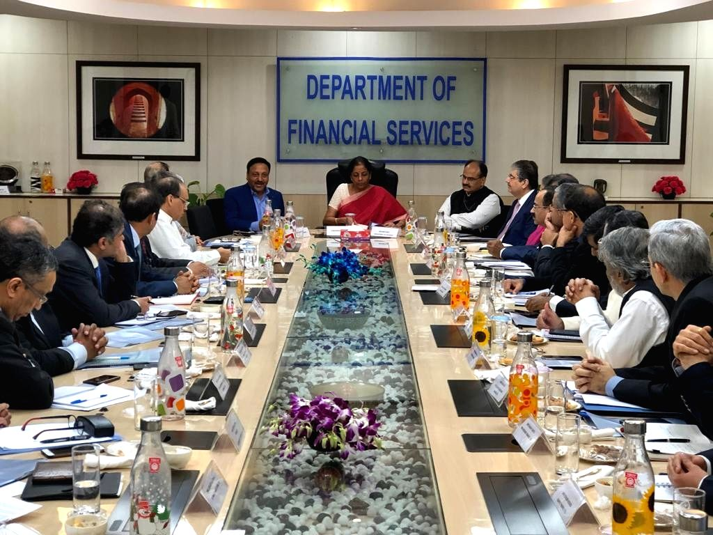 New Delhi: Union Finance and Corporate Affairs Minister Nirmala Sitharaman holds a meeting with Private Sector Banks and Financial Institutions, in New Delhi on Sep 26, 2019. (Photo: IANS) - Nirmala Sitharaman