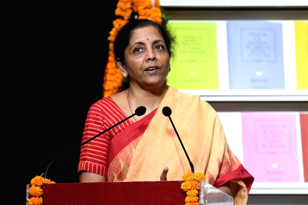 New Delhi: Union Finance and Corporate Affairs Minister Nirmala Sitharaman addresses at the launch of a report on Status of Women in India, in New Delhi on Sep 24, 2019. (Photo: IANS) - Nirmala Sitharaman