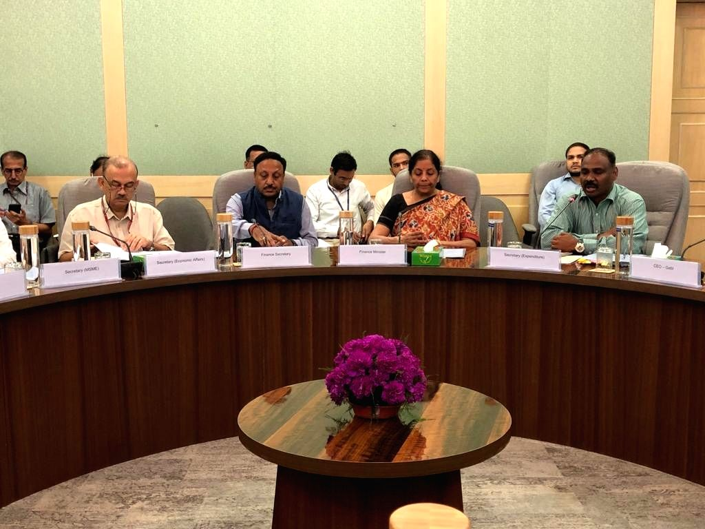 New Delhi: Union Finance and Corporate Affairs Minister Nirmala Sitharaman holds meeting with the heads of Central Public Sector Undertakings (CPSUs), in New Delhi on Sep 28, 2019. (Photo: IANS) - Nirmala Sitharaman