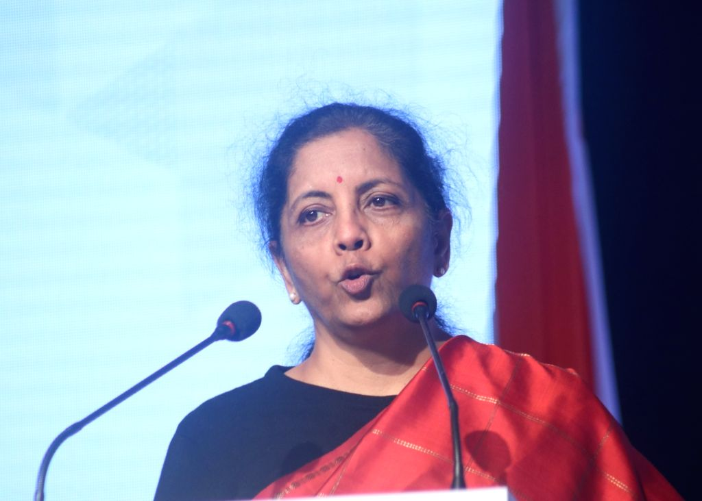 New Delhi: Union Finance and Corporate Affairs Minister Nirmala Sitharaman addresses at the inaugural session of India-Sweden Business Summit in New Delhi on Dec 3, 2019. (Photo: IANS) - Nirmala Sitharaman
