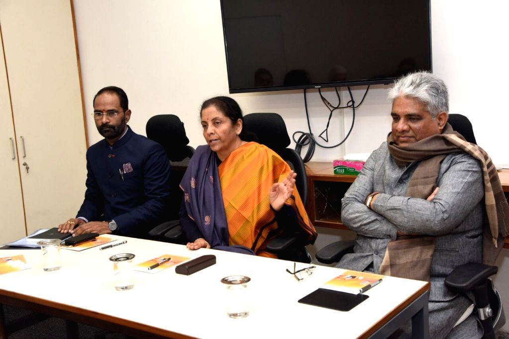 New Delhi: Union Finance and Corporate Affairs Minister Nirmala Sitharaman presides over a pre-budget meeting with key post holders, heads of different cells of BJP, the media department and intellectuals at the BJP Headquarters in New Delhi on Jan 9 - Nirmala Sitharaman