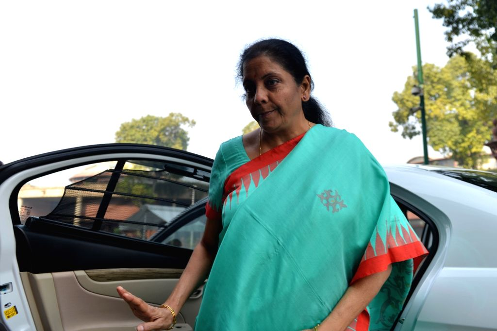 New Delhi: Union Finance and Corporate Affairs Minister Nirmala Sitharaman arrives at Parliament in New Delhi on Nov 20, 2019. (Photo: IANS) - Nirmala Sitharaman