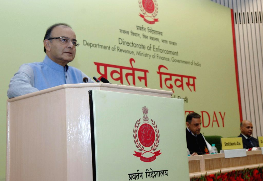 Union Finance, Corporate Affairs and Information and Broadcasting Minister, Arun Jaitley addresses at the Enforcement Day function, in New Delhi on May 1, 2015.