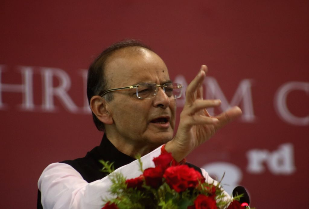 New Delhi: Union Finance Minister Arun Jaitley addresses during the 93rd Annual Day celebrations of Shri Ram College of Commerce in New Delhi, on April 6, 2019. (Photo: IANS) - Arun Jaitley