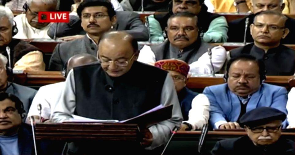 :New Delhi: Union Finance Minister Arun Jaitley presenting the Union Budget 2018-19 at Parliament on Feb. 1, 2018. .