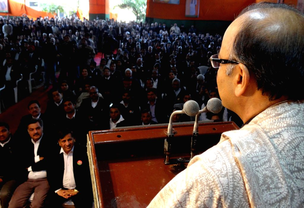 Union Finance Minister Arun Jiatley meeting with advocates at the state BJP office in New Delhi on Jan. 30, 2015.