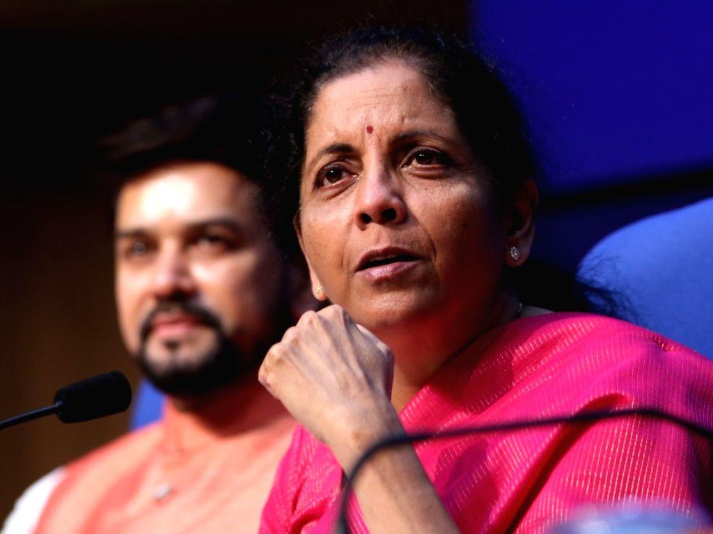 New Delhi: Union Finance Minister Nirmala Sitharaman addresses a press conference in New Delhi on July 5, 2019. (Photo: Amlan Paliwal/IANS) - Nirmala Sitharaman