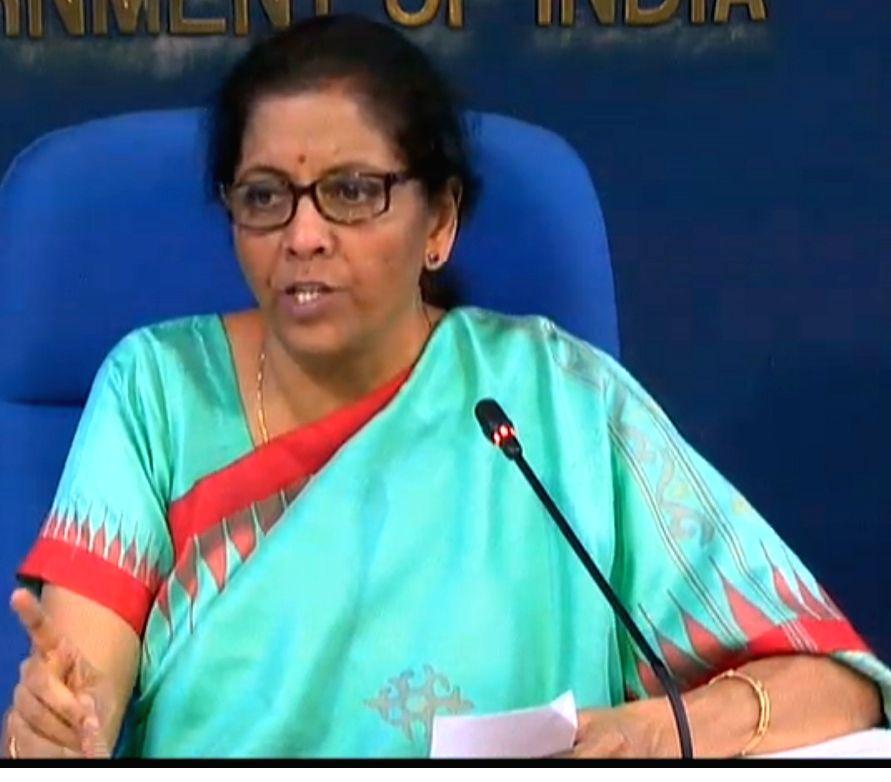New Delhi: Union Finance Minister Nirmala Sitharaman addresses a press conference on cabinet decisions in New Delhi on Nov 20, 2019. (Photo: IANS) - Nirmala Sitharaman