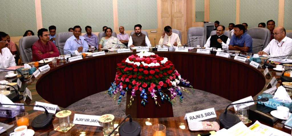 New Delhi: Union Finance Minister Nirmala Sitharaman chairs the first Pre-Budget consultations with the stakeholder groups from Agriculture and Rural Development in connection with the forthcoming General Budget 2019-20, in New Delhi on June 11, 2019 - Nirmala Sitharaman