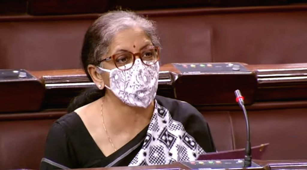 New Delhi: Union Finance Minister Nirmala Sitharaman moves Insolvency and Bankruptcy Code (2nd Amendment) Bill, 2020 for consideration in Rajya Sabha, during the Monsoon Session of Parliament in New Delhi on Sep 19, 2020. The Rajya Sabha on Saturday  - Nirmala Sitharaman