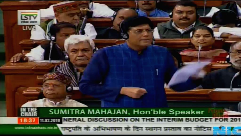 New Delhi: Union Finance Minister Piyush Goyal speaks in Lok Sabha, Parliament House in New Delhi on Feb 11, 2019. (Photo: IANS/LSTV) - Piyush Goyal
